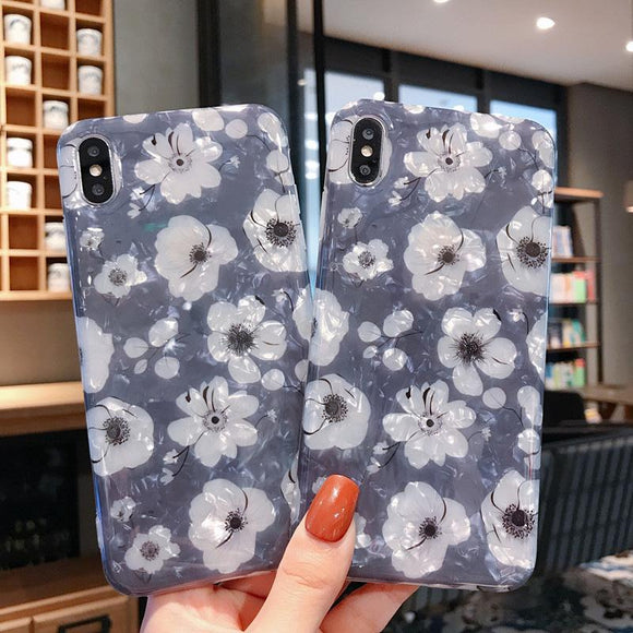 Simple Flower Shell Pattern Phone Case Back Cover for iPhone 11 Pro Max/11 Pro/11/XS Max/XR/XS/X/8 Plus/8/7 Plus/7 - halloladies
