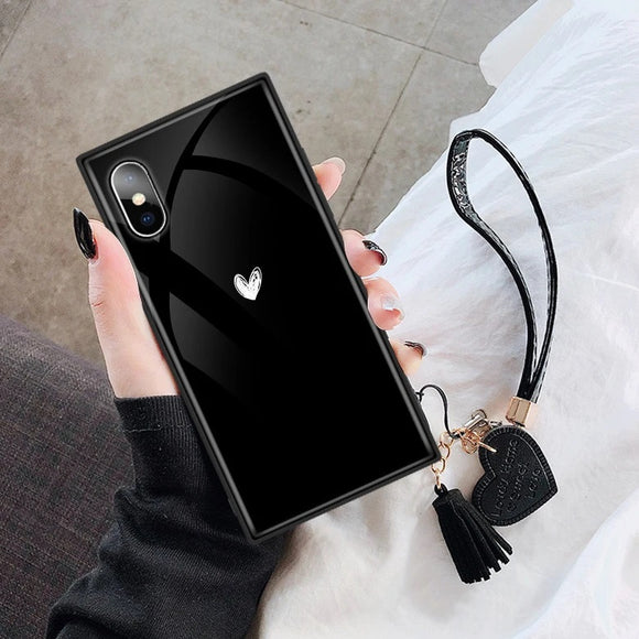Solid Color Love Heart Square Lanyard Tempered Glass Phone Case Back Cover for iPhone 12 Pro Max/12 Pro/12/12 Mini/SE/11 Pro Max/11 Pro/11/XS Max/XR/XS/X/8 Plus/8 - halloladies
