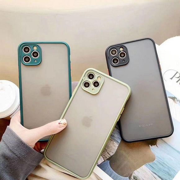 Contrast Color Edge Transparent Matte Soft Phone Case Back Cover for iPhone 12 Pro Max/12 Pro/12/12 Mini/SE/11 Pro Max/11 Pro/11/XS Max/XR/XS/X/8 Plus/8 - halloladies