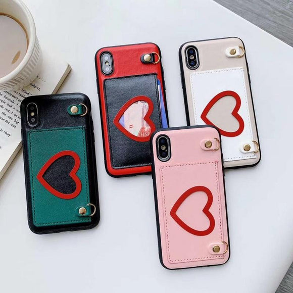 Fashion Leather Card Holder Love Heart with Long Crossbody Strap Chain Phone Case Back Cover for iPhone 11/11 Pro/11 Pro Max/XS Max/XR/XS/X/8 Plus/8/7 Plus/7 - halloladies