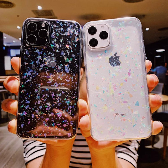 Glitter Foil Transparent Soft Phone Case Back Cover - iPhone 12 Pro Max/12 Pro/12/12 Mini/SE/11 Pro Max/11 Pro/11/XS Max/XR/XS/X/8 Plus/8 - halloladies