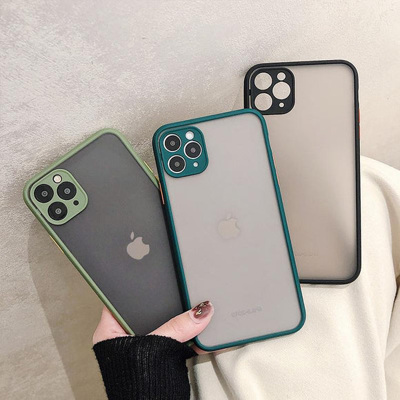 Simple Contrat Candy Color Matte Hard Phone Case Back Cover for iPhone 11/11 Pro/11 Pro Max/XS Max/XR/XS/X/8 Plus/8/7 Plus/7 - halloladies