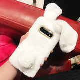 Lovely Warm Rabbit Fur Phone Case Back Cover - Samsung A80/A70 - halloladies
