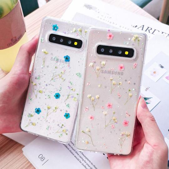 Real Dried Flower Transparent Shining Glitter Phone Case Back Cover for Samsung Galaxy S10E/S10 Plus/S10/S9 Plus/S9/S8 Plus/S8/Note9/Note8 - halloladies