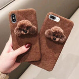 3D Cute Fluffy Plush Brown Dog Warm Phone Case Back Cover - iPhone 11/11 Pro/11 Pro Max/XS Max/XR/XS/X/8 Plus/8/7 Plus/7 - halloladies