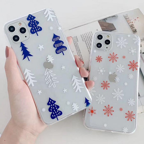 Snowflake Christmas Tree Transparent Soft Phone Case Back Cover - iPhone 11/11 Pro/11 Pro Max/XS Max/XR/XS/X/8 Plus/8/7 Plus/7 - halloladies