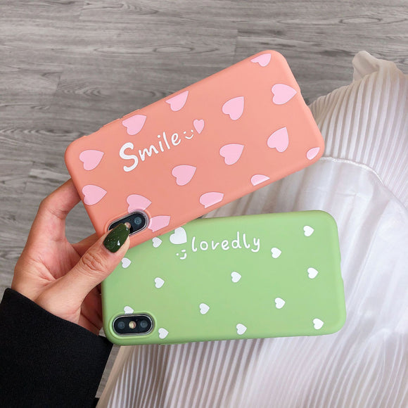 Cute Love Heart Smile Letter Phone Case Back Cover - OPPO R17 Pro/R17/R15 Dream Mirror/R15/A7/A5/A3 - halloladies