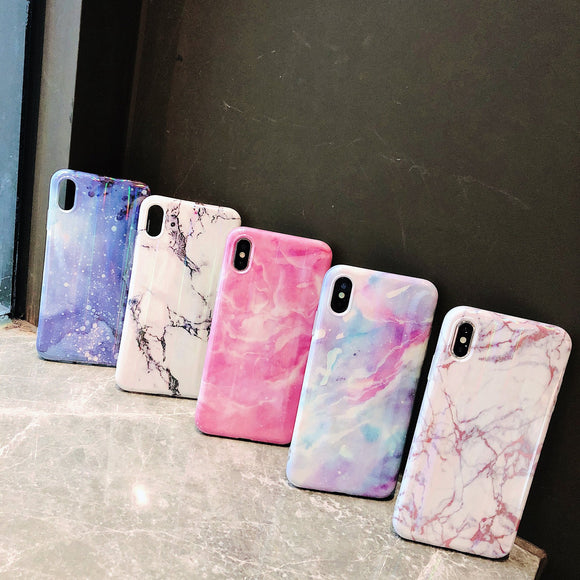 Laser Marble Phone Case Back Cover - iPhone XS Max/XR/XS/X/8 Plus/8/7 Plus/7/6s Plus/6s/6 Plus/6 - halloladies