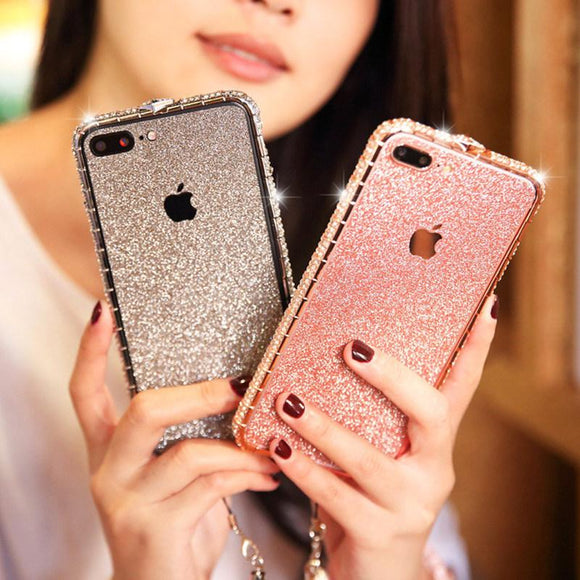 Luxury Glitter Powder Diamond Border Phone Case Back Cover for iPhone 11 Pro Max/11 Pro/11/XS Max/XR/XS/X/8 Plus/8/7 Plus/7/6s Plus/6s/6 Plus/6 - halloladies