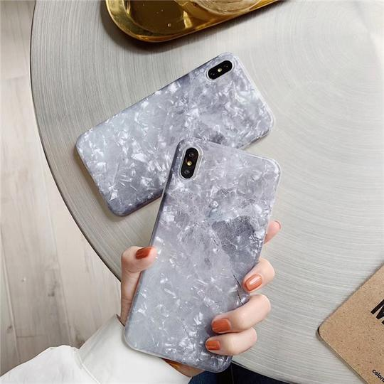 Grey Stone Marble Shell Phone Case Back Cover for iPhone XS Max/XR/XS/X/8 Plus/8/7 Plus/7/6s Plus/6s/6 Plus/6 - halloladies