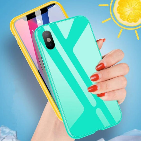 Candy Color Edge Magnetic Adsorption 360 Full Body Metal Tempered Glass Phone Case Back Cover for iPhone 11 Pro Max/11 Pro/11/XS Max/XR/XS/X/8 Plus/8/7 Plus/7/6s Plus/6s/6 Plus/6 - halloladies