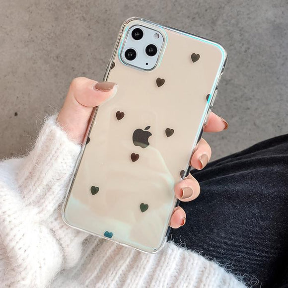 Simple Love Heart Clear Soft TPU Phone Case Back Cover for iPhone 11 Pro Max/11 Pro/11/XS Max/XR/XS/X/8 Plus/8/7 Plus/7 - halloladies