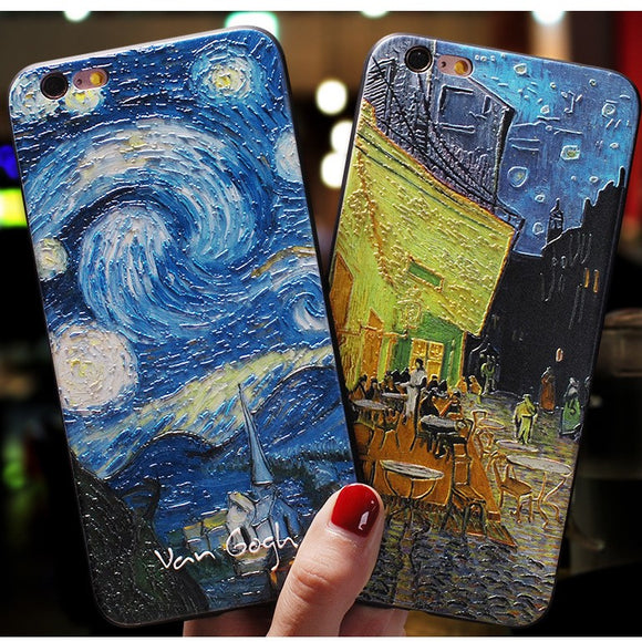 Art Oil Painting Phone Case Back Cover for iPhone 11/11 Pro/11 Pro Max/XS Max/XR/XS/X/8 Plus/8/7 Plus/7 - halloladies