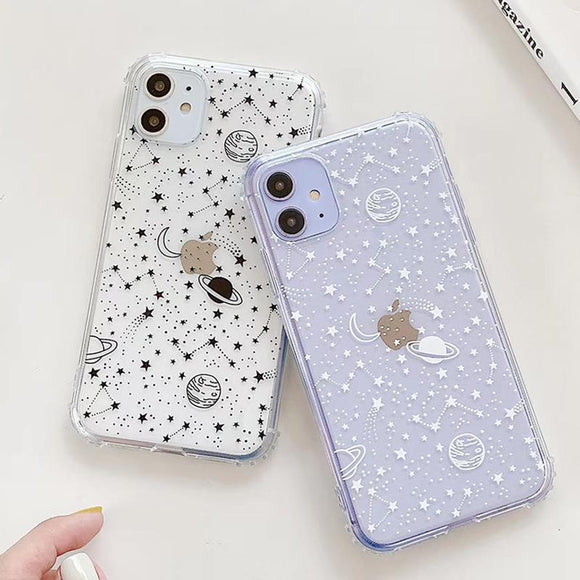 Simple Planet Star Transparent Soft Phone Case Back Cover - iPhone 12 Pro Max/12 Pro/12/12 Mini/SE/11 Pro Max/11 Pro/11/XS Max/XR/XS/X/8 Plus/8 - halloladies