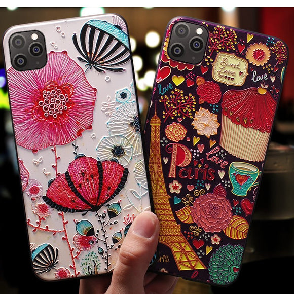 Art Cartoon Paint Phone Case Back Cover for iPhone 11/11 Pro/11 Pro Max/XS Max/XR/XS/X/8 Plus/8/7 Plus/7 - halloladies