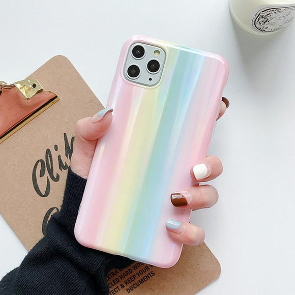Laser Rainbow Glossy Full Body Soft IMD Phone Case Back Cover - iPhone 11/11 Pro/11 Pro Max/XS Max/XR/XS/X/8 Plus/8/7 Plus/7 - halloladies