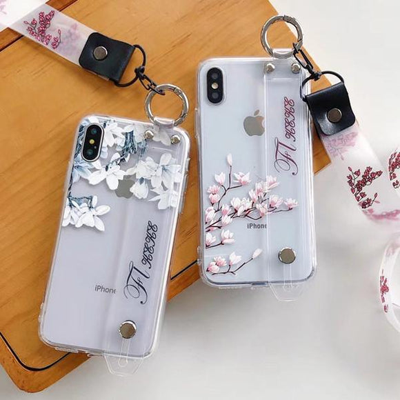 Magnolia Flower Clear Wrist Strap Lanyard Phone Case Back Cover - iPhone 11/11 Pro/11 Pro Max/XS Max/XR/XS/X/8 Plus/8/7 Plus/7 - halloladies