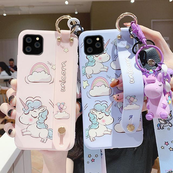 Cartoon Cute Unicorn Rainbow Wrist Strap Lanyard Soft Phone Case Back Cover - iPhone 11/11 Pro/11 Pro Max/XS Max/XR/XS/X/8 Plus/8/7 Plus/7 - halloladies