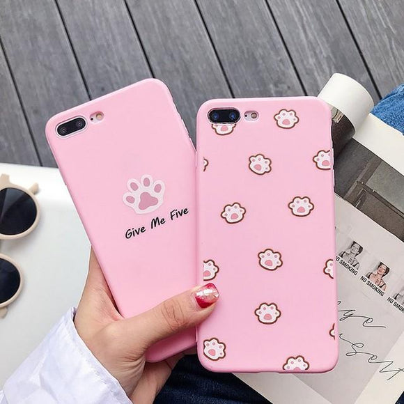 Cute Cartoon Cat Paw Soft Phone Case Back Cover - iPhone XS Max/XR/XS/X/8 Plus/8/7 Plus/7/6s Plus/6s/6 Plus/6 - halloladies