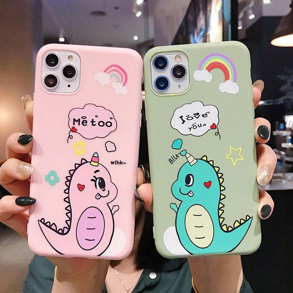 Cartoon Cute Dinosaur Rainbow Letter Couples Soft Phone Case Back Cover - iPhone 11/11 Pro/11 Pro Max/XS Max/XR/XS/X/8 Plus/8/7 Plus/7 - halloladies