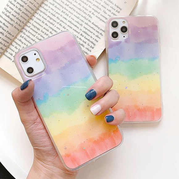 Glitter Powder Gradient Rainbow Phone Case Back Cover - iPhone 11 Pro Max/11 Pro/11/XS Max/XR/XS/X/8 Plus/8/7 Plus/7 - halloladies