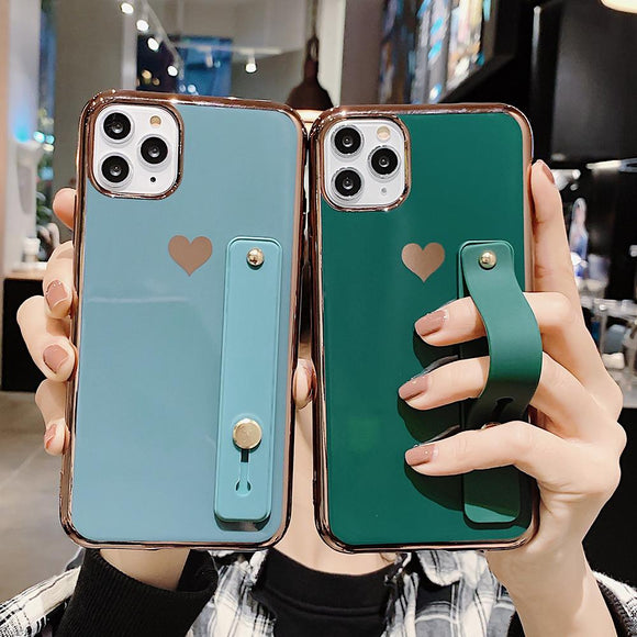 Solid Contrast Color Wrist Strap Band Heart Soft Phone Case Back Cover - iPhone 12 Pro Max/12 Pro/12/12 Mini/SE/11 Pro Max/11 Pro/11/XS Max/XR/XS/X/8 Plus/8 - halloladies