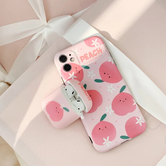 Pink Cartoon Peach Soft Phone Case Back Cover for iPhone 12 Pro Max/12 Pro/12/12 Mini/SE/11 Pro Max/11 Pro/11/XS Max/XR/XS/X/8 Plus/8 - halloladies