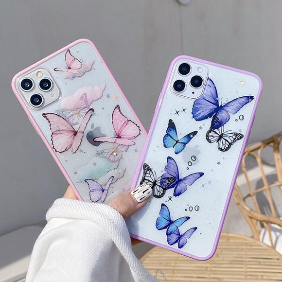 Glitter Butterfly Laser Frame Soft Phone Case Back Cover for iPhone 12 Pro Max/12 Pro/12/12 Mini/SE/11 Pro Max/11 Pro/11/XS Max/XR/XS/X/8 Plus/8 - halloladies