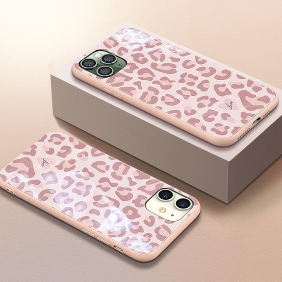 Pink Leopard Print Tempered Glass Phone Case Back Cover - iPhone 11/11 Pro/11 Pro Max/XS Max/XR/XS/X/8 Plus/8/7 Plus/7 - halloladies