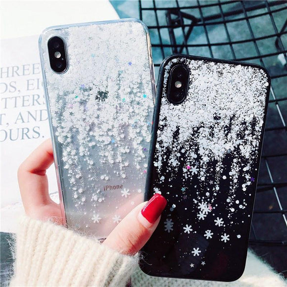Christmas Bling Glitter Snow Flower Soft Phone Case Back Cover - iPhone 11 Pro Max/11 Pro/11/XS Max/XR/XS/X/8 Plus/8/7 Plus/7 - halloladies