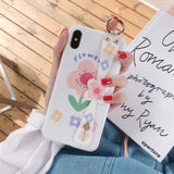 Simple Flower Wrist Strap Letter Phone Case Back Cover - iPhone 11/11 Pro/11 Pro Max/XS Max/XR/XS/X/8 Plus/8/7 Plus/7 - halloladies