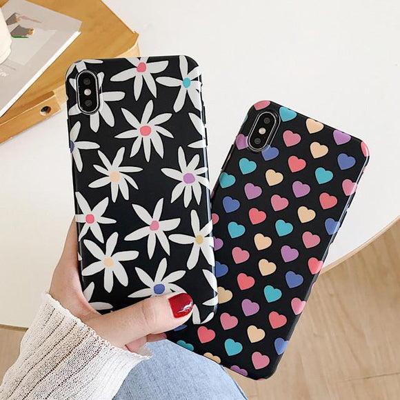 Colorful Love Heart Flower Phone Case Back Cover for iPhone XS Max/XR/XS/X/8 Plus/8/7 Plus/7/6s Plus/6s/6 Plus/6 - halloladies