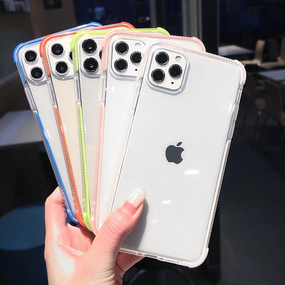 Shockproof Bumper Transparent Soft Phone Case Back Cover - iPhone 12 Pro Max/12 Pro/12/12 Mini/SE/11 Pro Max/11 Pro/11/XS Max/XR/XS/X/8 Plus/8 - halloladies