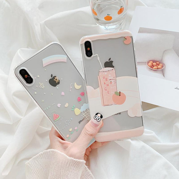 Cute Graffiti Fruit Transparent Soft Phone Case Back Cover - iPhone 12 Pro Max/12 Pro/12/12 Mini/SE/11 Pro Max/11 Pro/11/XS Max/XR/XS/X/8 Plus/8 - halloladies