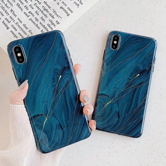 Golden lines Marble Blue Soft Phone Case Back Cover - iPhone 12/12Pro/12 Pro Max/12 Mini/11/11 Pro/11 Pro Max/XS Max/XR/XS/X/8 Plus/8/7 Plus/7 - halloladies