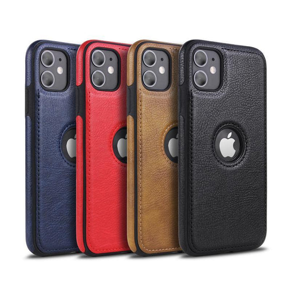 Slim PU Leather Patchwork Solid Color Phone Case Back Cover for iPhone 11/11 Pro/11 Pro Max/XS Max/XR/XS/X/8 Plus/8/7 Plus/7 - halloladies