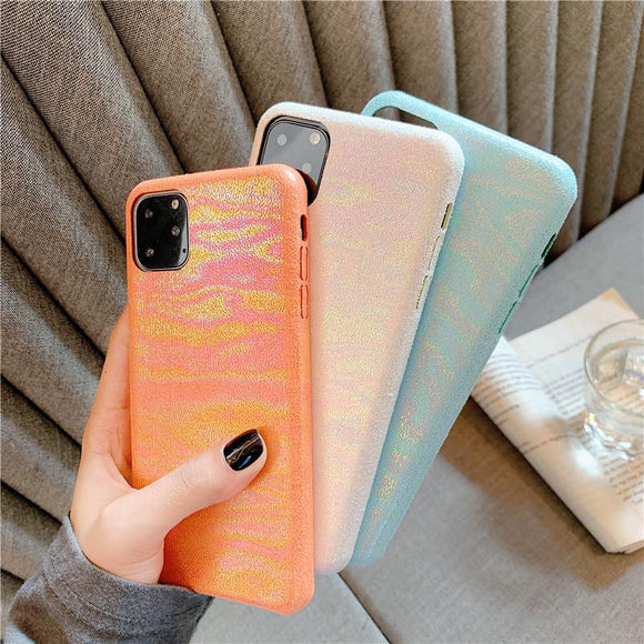 Luxury Shiny Laser PU Leather Phone Case Back Cover - iPhone 12 Pro Max/12 Pro/12/12 Mini/SE/11 Pro Max/11 Pro/11/XS Max/XR/XS/X/8 Plus/8 - halloladies
