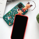 3D Cartoon Cute Christmas Elk Phone Case Back Cover for iPhone 11/11 Pro/11 Pro Max/XS Max/XR/XS/X/8 Plus/8/7 Plus/7 - halloladies