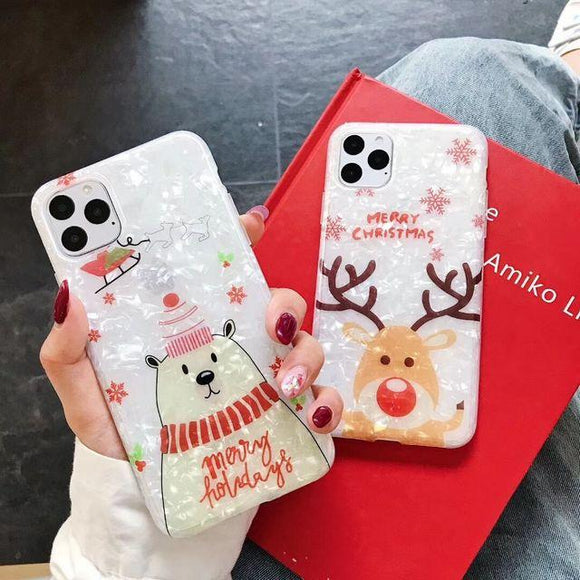Cartoon Bear Christmas Elk Shell Phone Case Back Cover for iPhone 11/11 Pro/11 Pro Max/XS Max/XR/XS/X/8 Plus/8/7 Plus/7 - halloladies