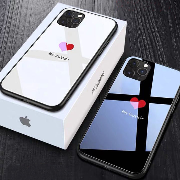 Tempered Glass Couple Love Heart Simple Black and White Phone Case Back Cover  With Lanyard for iPhone 12 Pro Max/12 Pro/12/12 Mini/SE/11 Pro Max/11 Pro/11/XS Max/XR/XS/X/8 Plus/8 - halloladies
