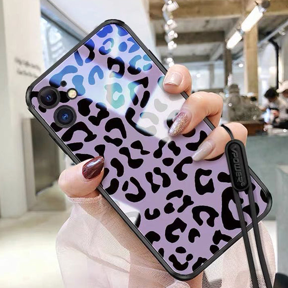 Purple Leopard Print Tempered Glass Phone Case Back Cover - iPhone 12 Pro Max/12 Pro/12/12 Mini/SE/11 Pro Max/11 Pro/11/XS Max/XR/XS/X/8 Plus/8 - halloladies