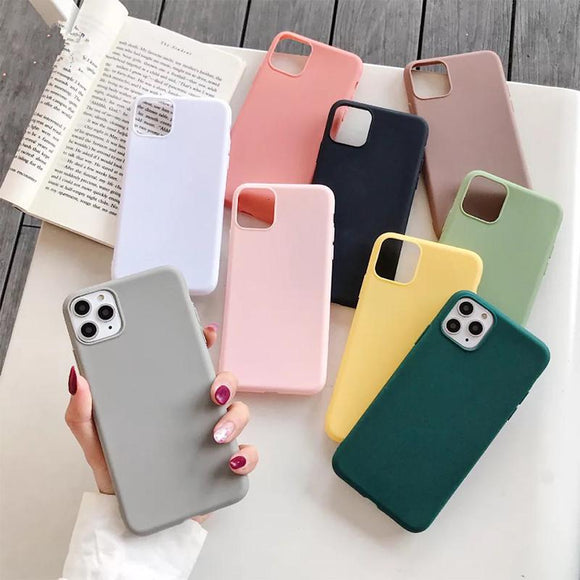 Simple Candy Color Soft Phone Case Back Cover for iPhone 11/11 Pro/11 Pro Max/XS Max/XR/XS/X/8 Plus/8/7 Plus/7 - halloladies