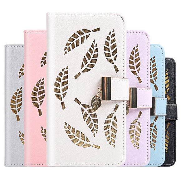Candy Color Leaf Leather Flip Wallet Card Holder Phone Case Back Cover for iPhone 11 Pro Max/11 Pro/11/XS Max/XR/XS/X/8 Plus/8/7 Plus/7 - halloladies