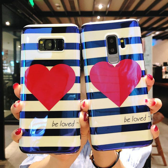 Love Heart Blue-ray Stripe Phone Case Back Cover for Samsung Galaxy S10E/S10 Plus/S10/S9 Plus/S9/S8 Plus/S8/Note 8/Note 9 - halloladies