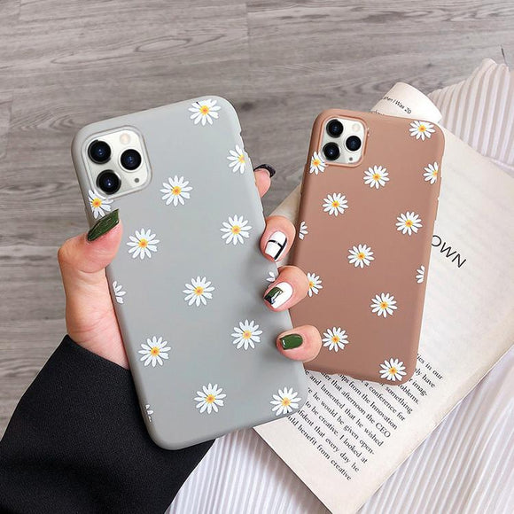 Candy Color Sweet Daisy Flowers Soft Phone Case Back Cover for iPhone 12 Pro Max/12 Pro/12/12 Mini/SE/11 Pro Max/11 Pro/11/XS Max/XR/XS/X/8 Plus/8 - halloladies