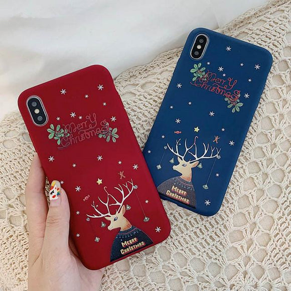 Cartoon Deer Merry Christmas Phone Case Back Cover - iPhone 11/11 Pro/11 Pro Max/XS Max/XR/XS/X/8 Plus/8/7 Plus/7 - halloladies