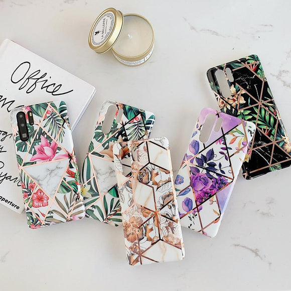 Plating Geometric Patchwork Flower Soft Phone Case Back Cover - Huawei Mate 30 Pro/Mate 30/P30 Lite/P30 Pro/P30/P20 Lite/P20 Pro/P20/Mate 20 Pro/Mate 20x/Mate 20 - halloladies