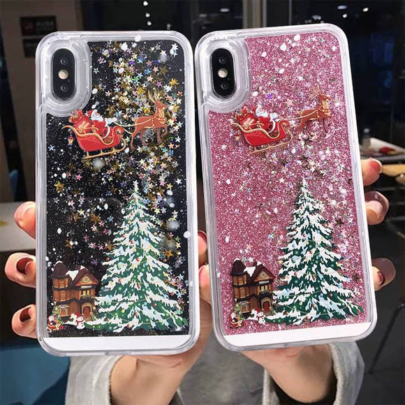 Giltter Quicksand Cartoon Christmas Santa Claus Elk Phone Case Back Cover for iPhone 11/11 Pro/11 Pro Max/XS Max/XR/XS/X/8 Plus/8/7 Plus/7 - halloladies