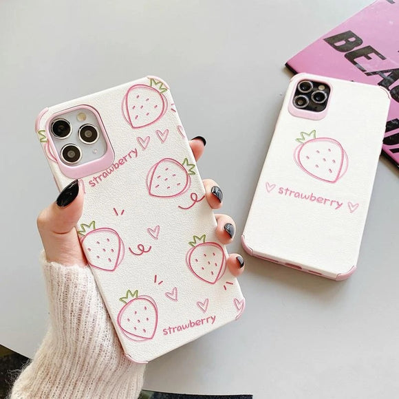 Strawberry Cute Fruit Soft Phone Case Back Cover for iPhone 12 Pro Max/12 Pro/12/12 Mini/SE/11 Pro Max/11 Pro/11/XS Max/XR/XS/X/8 Plus/8 - halloladies