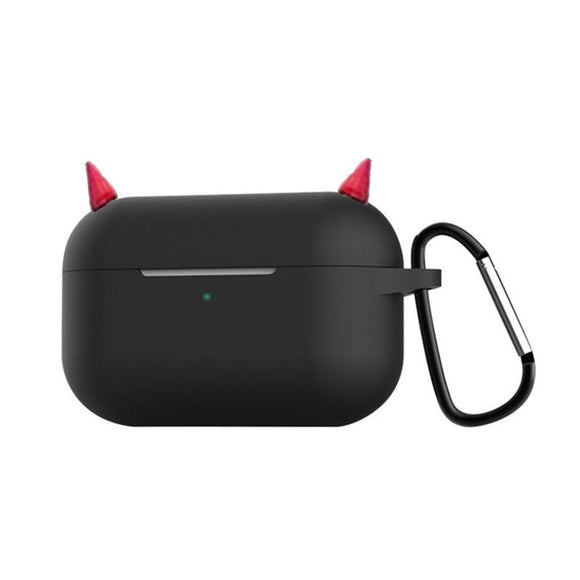 Candy Color Devil Horns Metal Key Chain Wireless Bluetooth Earphone Cases for Airpods Pro - halloladies